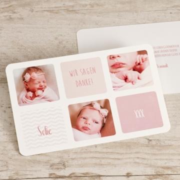 Dankeskarte Geburt Fotocollage