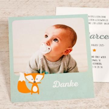 Dankeskarte Geburt mit Foto und Fuchs