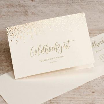 Einladung goldene Hochzeit aus Büttenpapier mit Goldfolie