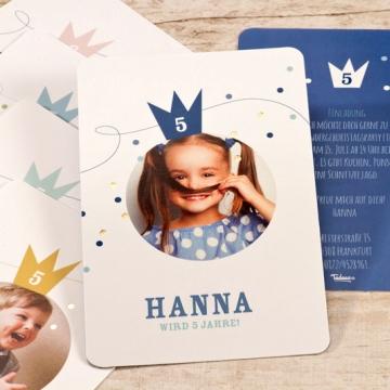Einladung Kindergeburtstag mit eigenem Foto und Krone