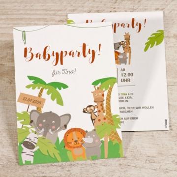 Einladungskarte Babyparty Dschungeltiere