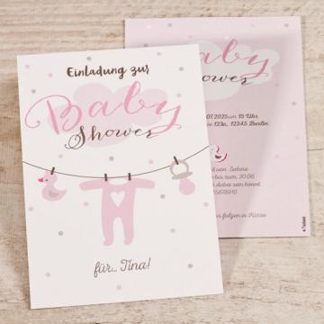 Einladungskarten Babyshower Wäscheleine mit Strampler
