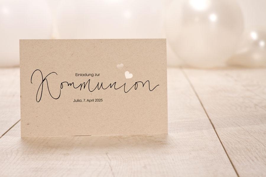 Einladungskarten Kommunion in Kraftpapieroptik mit Handlettering und Lasercut