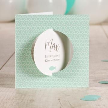 Einladungskarten Kommunion mit Foto in Mint