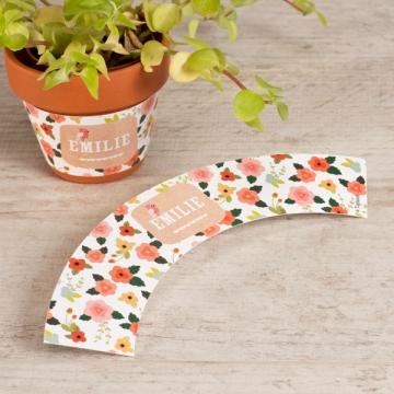 Etikett für kleinen Blumentopf bunte Blumen