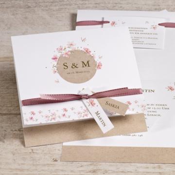 Hochzeitseinladung mit Wiesenblumen in Rosa