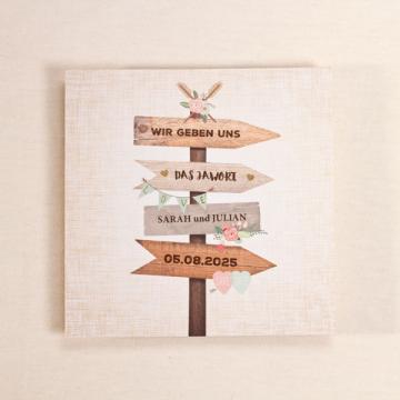 Hochzeitseinladung Wegweiser aus Holz