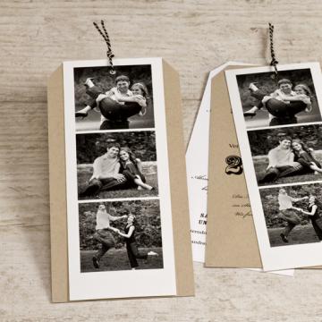 Kraftpapier Hochzeitseinladung mit Fotos