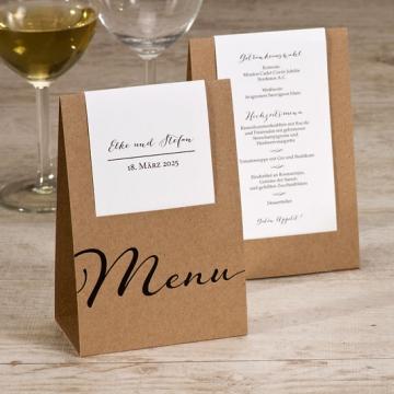 Hochzeit Menükarten aus Kraftpapier