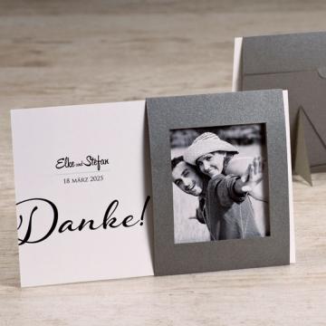 Passepartout Danksagung Hochzeit mit stahlgrauem Rahmen