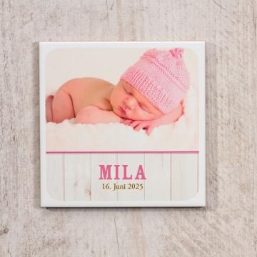 Personalisierte Fliese mit Foto & Text zur Geburt