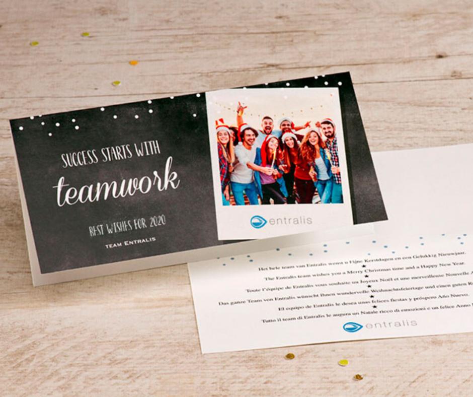 Geschäftliche Weihnachtsgrüße mit Polaroid Foto
