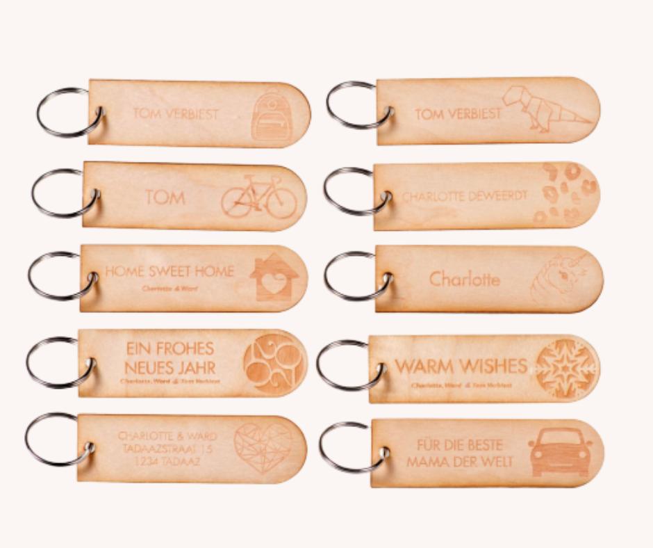 individuelle Schlüssel-Anhänger aus Holz