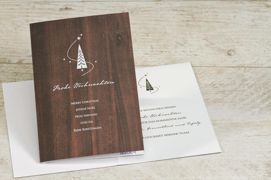 Weihnachtskarte Holzoptik